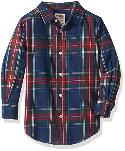 Wrangler Authentics Big Boys' Long Sleeve Woven Shirt, Green/Navy/red Plaid, M