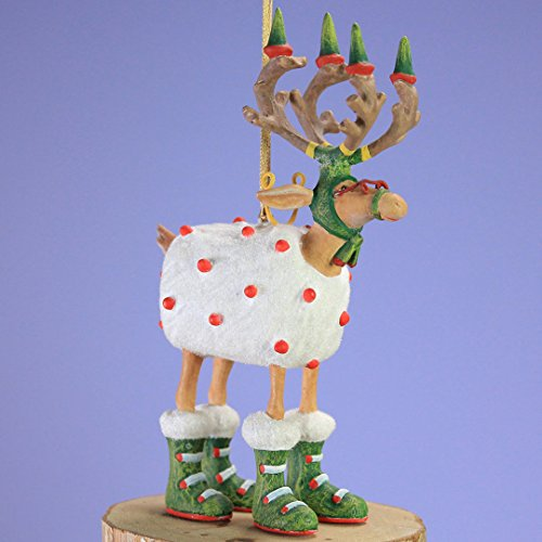 Krinkles Christmas Decorations - Patience Brewster Mini Dashaway Blitzen Reindeer Ornament Christmas Holiday Tree Decoration