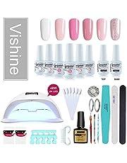 Vishine Gel Nail Polish Starter Kit, 48W LED Nail Dryer Lamp Base Top Coat 6 Pretty Colors Nail File Manicure Tools Matte Top Coat for Nail Art #01