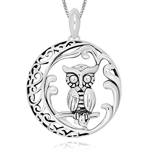 925 Sterling Silver Filigree Moon Owl Pendant Necklace 18