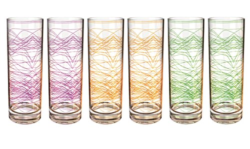 Stallion Barware Highball Glasses - Neon - Set of 6 - Unbreakable (Polycarbonate) - 330 ml - Stallion, The Unbreakable Homeware Company by Stallion Barware