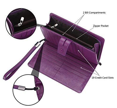 AINIMOER Women's Big RFID Blocking Leather Zip Around Wallets for Womens Clutch Organizer Checkbook Holder Large Travel Purse(Lichee Purple) by AINIMOER (Image #5)
