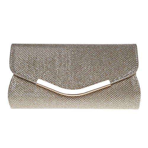 Fashion Road Evening Clutch, Womens Mini Glitter Clutch Purses for Wedding & Party Gold