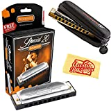 Hohner 560 Special 20 Harmonica - Key of C Bundle with Carrying Case and Austin Bazaar Polishing Cloth