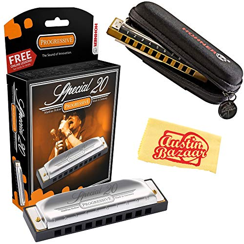 (Hohner 560 Special 20 Harmonica - Key of C Bundle with Carrying Case and Austin Bazaar Polishing Cloth)