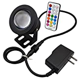 COOLWEST 10W RGB Timing LED Underwater Light Spotlight Flood Lamp for Fountain pond Landscape Garden Pool Fish Tank,with Wiress IR Remote