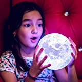 ULIN Halloween Lights Decorations Moon Lamp with Stand 16 Colors 3D Print Moon Light with Remote & Touch Control and USB Recharge, Moon Light Lamps for Baby Kids Lover Birthday (7.1 inch)