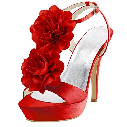 Kevin Fashion gymz670Ladies flores lazo satinado novia boda plataforma sandalias Red