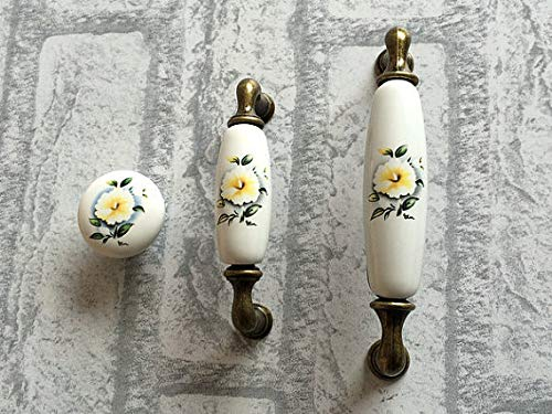 - Best Quality - Cabinet Pulls - Door Knobs Cabinet Pulls Handles Knobs/Dresser Drawer Pull Handles Ceramic White Blossom Flower Antique Bronze Hardware - by VietGT - 1 PCs