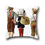 pillow shams of oil painting Norman Rockwell - Fishing Trip, They'll Be Coming Back Next Week 20 x 20 inch / 50 by 50 cm,best fit for boys,floor,pub,girls,dinning room,living room twice sides