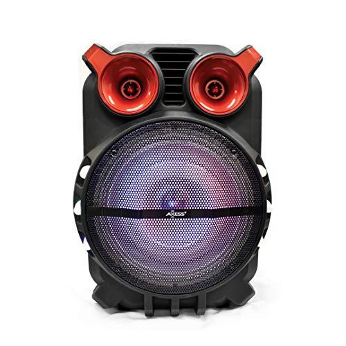 Axess PABT6056 Bluetooth PA 12+1 Loud Trolley Wireless Bluetooth Speaker, Disco Lights, USB/TF Card/Aux/FM/Mic Inputs, Bass-Treble Control, Remote, Rech. Battery + 9 Volt Adaptor