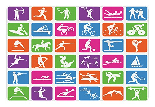 Lunarable Olympics Pet Mat for Food and Water, Collection with 36 Sport Icons Basketball Cycling Diving Mountain Bike Wrestling, Rectangle Non-Slip Rubber Mat for Dogs and Cats, Multicolor