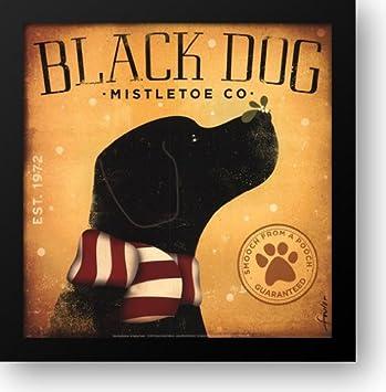 Black Dog Mistletoe 16×16 Framed Art Print by Fowler, Stephen