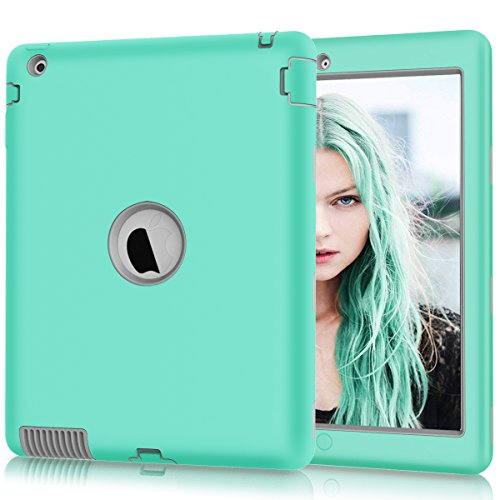 iPad 2 Case, iPad 3 Case, iPad 4 Case, Hocase Rugged Slim Shockproof Silicone Rubber+Hard Plastic Dual Layer Protective Case Cover for 9.7 iPad 2nd/3rd/4th Generation - Teal/Grey