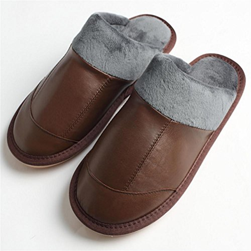 W&XY Winter indoor slippers Faux Leather Floor tendon bottom home cotton shoes men 45