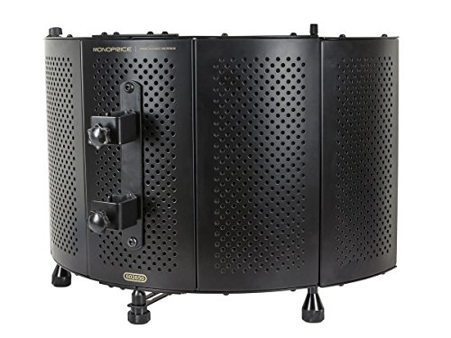 Monoprice Microphone Isolation Shield - Black - Foldable with 3/8 inch Mic Threaded Mount, High Density Absorbing Foam Front And Vented Metal Back Plate