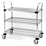 """Metro MW406 MW Series Stainless Steel/Chrome Plated Wire Utility Cart, 3 Shelves, 375 lbs Capacity, 36"""" Length x 24"""" Width x 39"""" Height"""