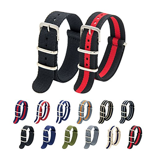 - 20mm 22mm Premium Ballistic Nylon Watch Bands with Stainless Steel Buckle (Black+Black Crimsion, 22mm) ()