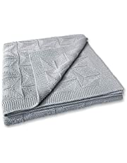 Zeke and Zoey Soft 100% Cotton Knit Baby Blanket for Girls or Boys – Unisex, for Infant, Newborn, Toddler and Kids for cot, pram, car, Receiving or Swaddle Blanket (Grey)