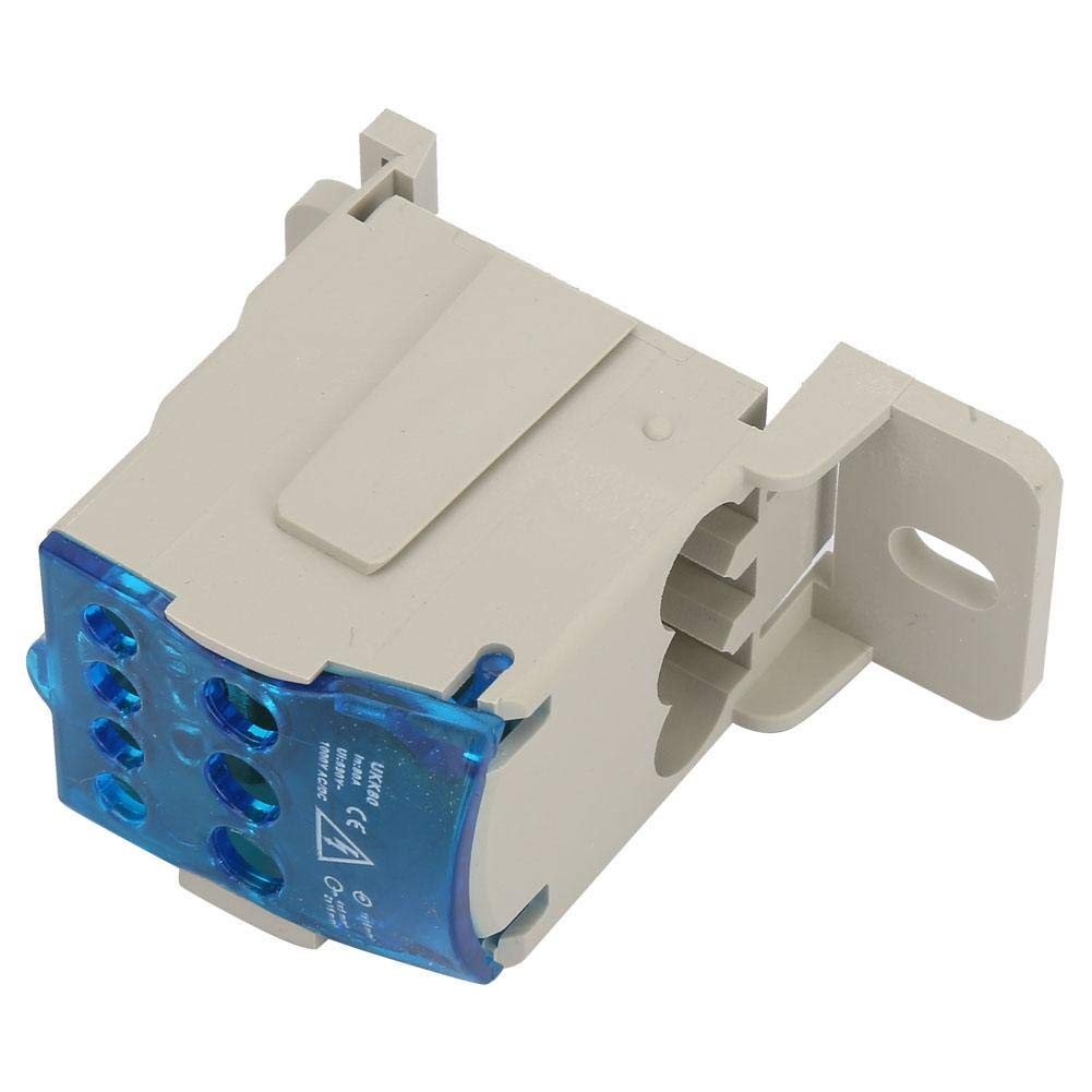 Electric Insulated DIN Rail Terminal Block Distribution Box 80A Wire Connector Universal Power Junction Box for Power Distribution Cabinets