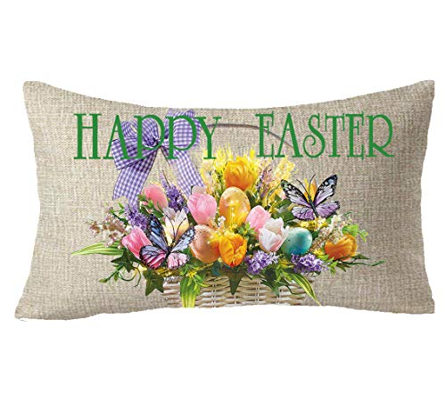Basket Tulip - FELENIW Happy Easter Colored Egg in The Basket Tulip Flower Butterfly Spring Blessing Gift Cotton Linen Decorative Throw Pillow Cover Cushion Case Lumbar 12x20 inches