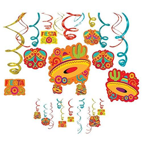 Amscan Fun-filled Fiesta Cinco de Mayo Party Foil Swirl Decoration, 30 Pieces, Foil, 8 Swirls w/Paper Cutouts, 7