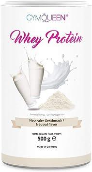 GymQueen Proteína de Whey – Proteína de suero de leche concentrada e aislada, Neutral, 500 gr.