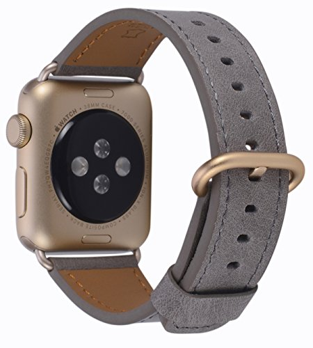 Compatible iWatch Band 38mm 40mm - PEAK ZHANG Women Taupe Vintage Leather Replacement Strap with Gold Adapter and Buckle Compatible Series 4 (40mm) Series 3 2 1 (38mm) Sport and Edition