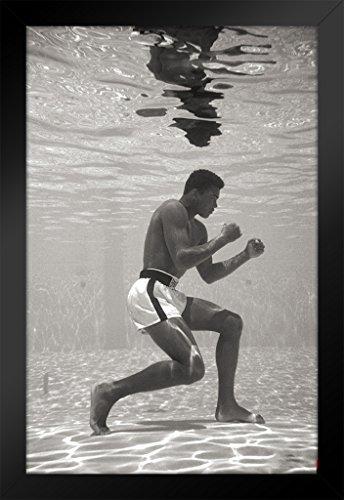 20 Framed Wall Art - Pyramid America Muhammad Ali Posing Underwater Sports Framed Poster 14x20 inch