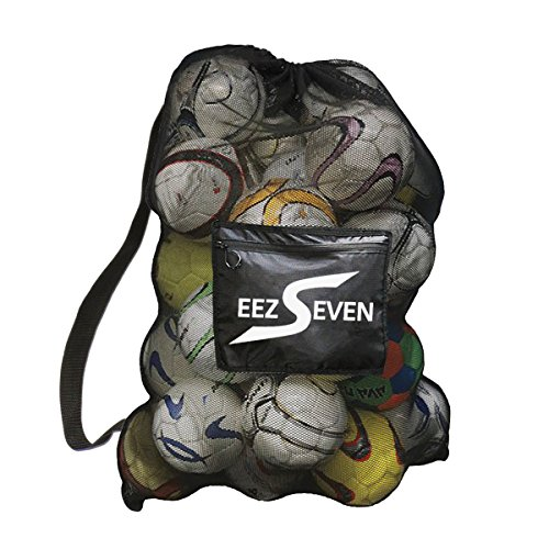 Heavy Duty Extra Large Ball Mesh Bag Soccer Ball Bag Equipment Bag For Sports Beach and Swimming Gears. Adjustable Shoulder Strap For Adults and Kids. Side Pocket for Your Personal (Equipment Sports Bag)
