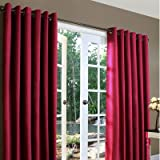 Weathermate Solid Cotton Grommet Top Curtain (Set of 2) Size: 84″ H x 80″ W, Color: Burgundy Review