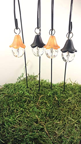 Fairy garden accessories. Halloween fairy lights. Set of 4 black and orange miniature lanterns.