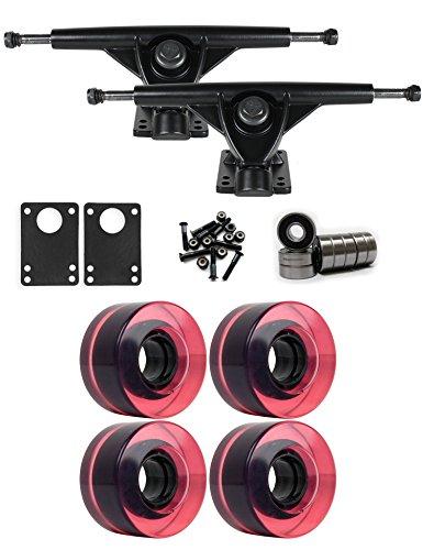 TGM Skateboards RKP Black Longboard Trucks Wheels Package 56mm x 31mm 83A Magenta C Pink Clear
