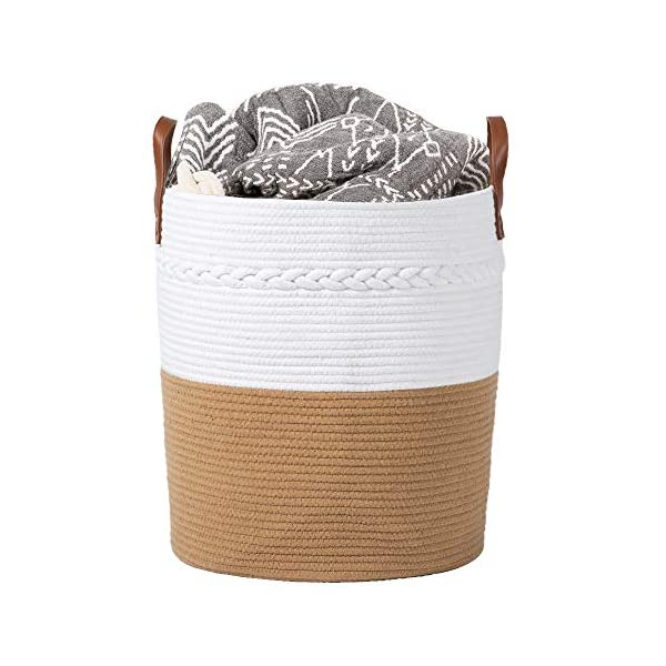 HIGOGOGO Rope Laundry Hamper, Woven Tall Storage Basket with Leather Handles 18 x 16 x 16 Inch, Decorative Nursery Basket Baby Toy Bin Large Storage Container for Clothes, Blanket and Cushions, Yellow