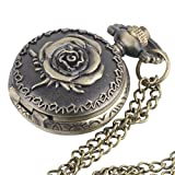 81stgeneration Women's Brass Vintage Style Rose Pocket Watch Chain Pendant Necklace, 78 cm