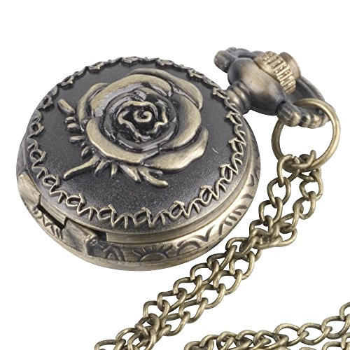 81stgeneration Women's Brass Vintage Style Rose Pocket Watch Chain Pendant Necklace, 78 cm from 81stgeneration