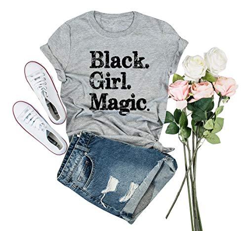 IRISGOD Womens Black Girl Magic T Shirt Summer Cute Short Sleeve Juniors Graphic Tees - T-shirt Juniors Queen