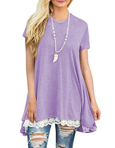 Jiu1ai Lace Trim Purple Tunic Top Short Sleeve Casual Flowy Sweatshirts Women, Purple, XX-Large (Maternity Pullover)