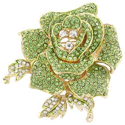 - EVER FAITH Women's Austrian Crystal Blooming Beautiful Rose Flower Brooch Green Gold-Tone