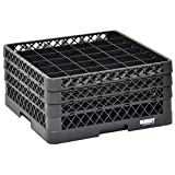 Vollrath Traex Black Plastic 36 Compartment Dishwashing Rack With Three Open Extenders - 19 3/4 L x 19 3/4 W x 8 3/4 H