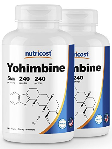 Nutricost Yohimbine HCl 5mg, 240 Capsules (2 Bottles) - Extra Strength - Gluten Free & - 240 Hcl Capsules