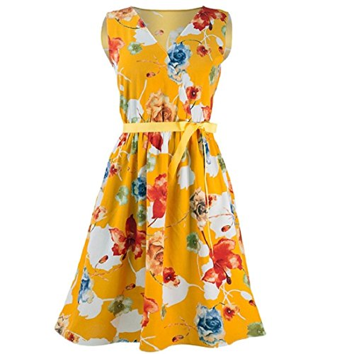 Womens Mini Dresses Summer Casual Floral Print V-Neck Sleevless Vest Dresses Bandage Tank Dress with Belt (S, Yellow)