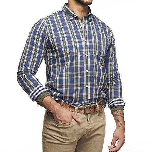 Tailor Vintage Men's Performance Stretch Long Sleeve Shirt (Teton Plaid) 3765h853-TTN