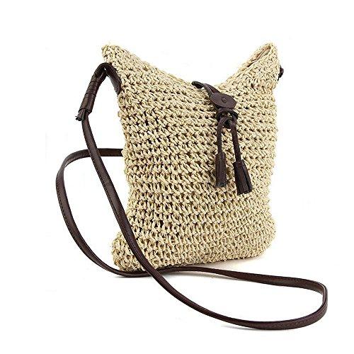 Women Shoulder Corn Bag 3 Round Straw Bag Summer and Beach Beige Crossbody Weave Purse Handbags UBEqA