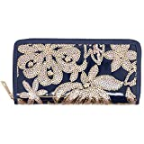 Navy Sequins Floral Wallet
