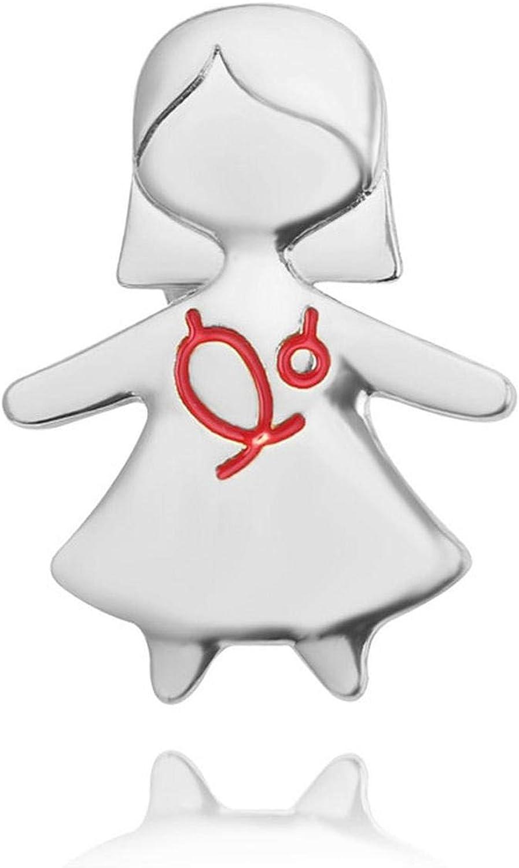 Rchhy Fashion Nurse Brooch Cute Pins Metal Gold Silver Rose Gold Gift Doctors Nurse Red Enamel Pin Badge Women Men Jewelry
