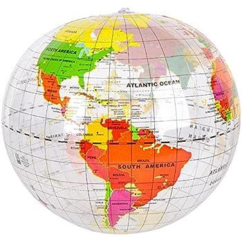 Amazoncom Inflatable PVC English World Earth Inch Globe Atlas - Earth globe map