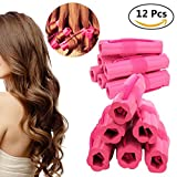 Hair Rollers Curlers, Foam Sponge Hair Curlers, Pillow Hair Curlers, No Heat Sleep Hair Rollers for Long Thick & Thin Hair, Flexible Sleeping Hair Curlers for Women & Girls, 12 Pcs - Rose Red