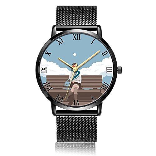 Custom Fashion Dazhi Analog Quartz Wrist Watch, Book Girl Durable Black Steel Bracelet Wrist watch For Women and Men by Dazhi