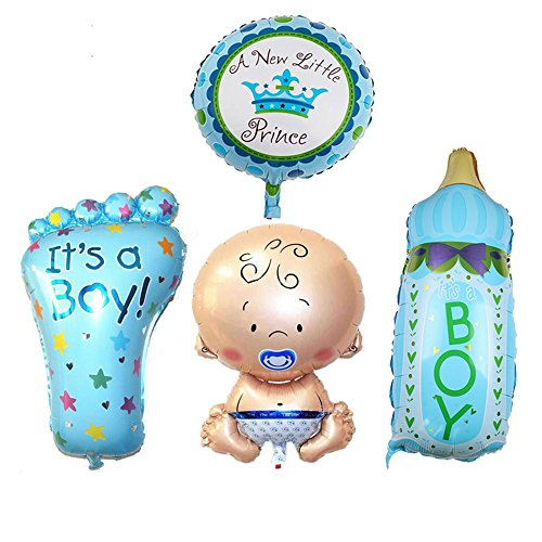 4PCS BOY Foil Helium Baby Foil Balloon For Newborn Baby Shower Christening Birthday Party -